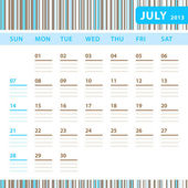 Planning Calendar - July 2013 — Stock Vector