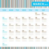 Planering kalender - mars 2013 — Stockvektor