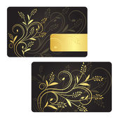 Luxury business card with golden floral decoration. Front and back side. — Stock Vector
