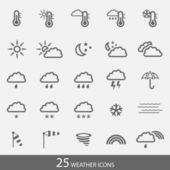 Set of 25 weather icons with stroke. Simple grey icons for web and applications. — Stock Vector