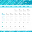 May 2013 planning callendar with space for notes. Checked blue texture in background. — Stock Vector