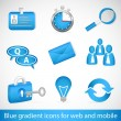 Stock Vector: Set of blue gradient icons for web applications and mobile devices