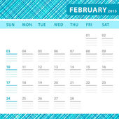 February 2013 planning callendar with space for notes. Checked blue texture in background. — Stock Vector