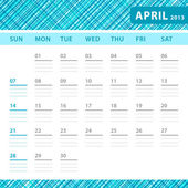 April 2013 planning callendar with space for notes. Checked blue texture in background. — Stock Vector