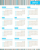 Annual Calendar for 2013 Year — Stock Vector