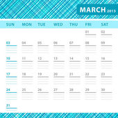 March 2013 planning callendar with space for notes. Checked blue texture in background. — Stock Vector