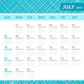 July 2013 planning callendar with space for notes. Checked blue texture in background. — Stock Vector