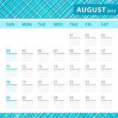August 2013 planning callendar with space for notes. Checked bluetexture in background. — Stock Vector