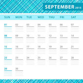 September 2013 planning callendar with space for notes. Checked blue texture in background. — Stock Vector