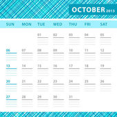 October 2013 planning callendar with space for notes. Checked blue texture in background. — Stock Vector