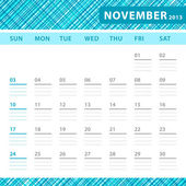 November 2013 planning callendar with space for notes. Checked blue texture in background. — Stock Vector