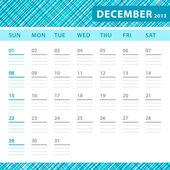 December 2013 planning callendar with space for notes. Checked blue texture in background. — Stock Vector