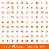 Set of 90 orange icons for web and mobile devices — Stock Vector