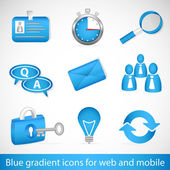 Set of blue gradient icons for web applications and mobile devices — Stock Vector