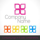 Company logo in five color combinations — Stock Vector