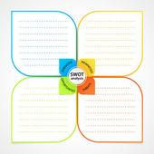 Blad med swot analys diagram wit utrymme för egna styrkor, svagheter, hot och möjligheter — Stockvektor