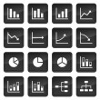 Stock Vector: Icons of various charts and diagrams with black buttons in background