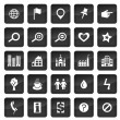 Stock Vector: Map icons with dark buttons in background