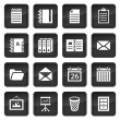 Stock Vector: Office and document icons with black buttons with shadow