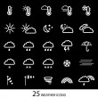 White weather icons with black background. Set of 25 icons. - Stock Vector