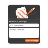 Dark contact form with light paper and orange ballpoint. — Stock Vector