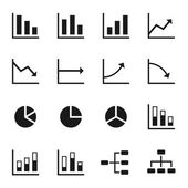 Black icons of various charts and diagrams with white background — Stock Vector