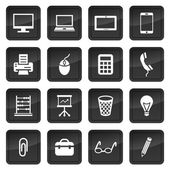 Icons of office devices and equipment with dark buttons in background — Stock Vector