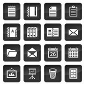 Office and document icons with black buttons with shadow — Stock Vector