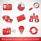 Red gradient icons for web applications and mobile devices — Stock Vector