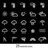 White weather icons with black background. Set of 25 icons. — Stock Vector