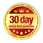 Golden badge with red fill and 30 day money back guarantee title — Stock Vector