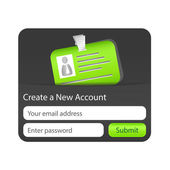 Create a new account form with green ID card. Element for websites and mobile applications — Vetorial Stock