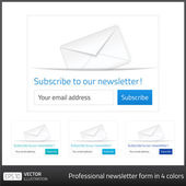 Light Subscribe to newsletter form with white background and button in 4 cold tones — Stock Vector