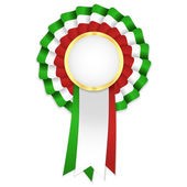 Tricolor rosette with golden frame and green, white and red ribbon — Stock Vector
