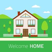 Ilustración casa plana Bienvenido — Vector de stock