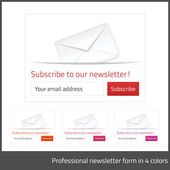 Light Subscribe to newsletter form with white background and button in 4 warm tones — Stock Vector