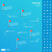 Timeline infographic template with set of startup icons — Stock Vector