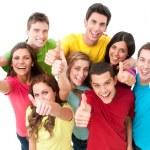 felices alegres amigos animando — Foto de Stock