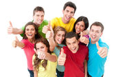 Felizes alegres amigos torcendo — Foto Stock