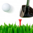 Golf club hitting the ball — Photo