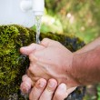 Cleaning hands in the nature - Stock Photo