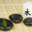 Black zen pebbles, green leaf and japanese candle — Stockfoto