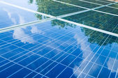 Solar panels with tree reflection — Stock Photo