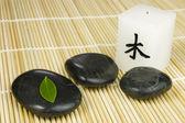 Siyah zen çakıl taşları, yeşil yaprak ve japon mum — Stok fotoğraf