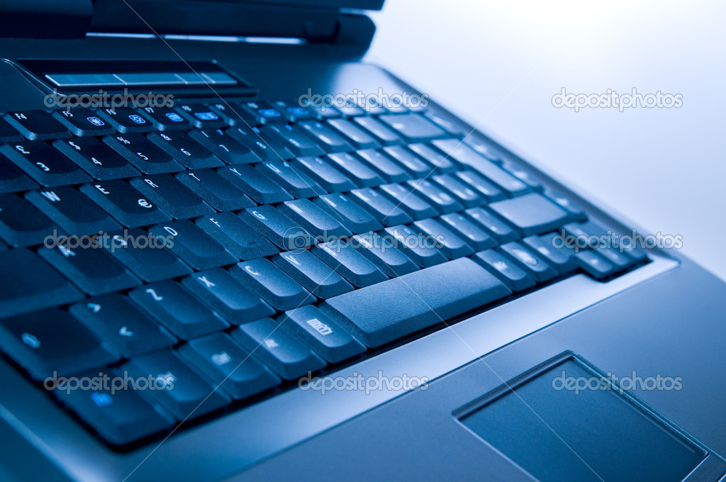 Detail of blue modern laptop. Technology concept — Stock Photo #12621230