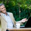 Happy businessman outdoor — Foto Stock