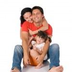 Happy family embrace — Stock Photo