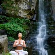 Stock Photo: Woman doing yoga in the nature