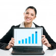 Business woman with growing chart — Stock Photo #12656895