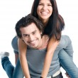 Happy cheerful couple piggyback — Foto Stock
